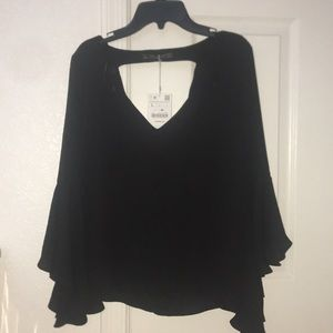 Zara Trafaluc Collection 3/4 Scoop Back Blouse